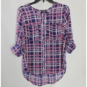 Papermoon by Stitch Fix Pink & Blue Plaid Top NWT